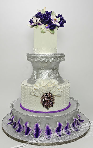purple silver and white wedding cakes purple and silver ruffle wedding cake silver and purple 18905