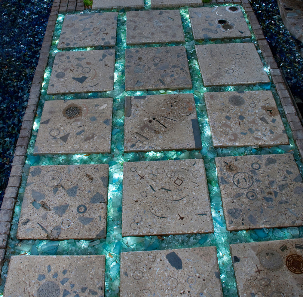 Cast Concrete Pavers Recycled Tumbled Glass Fiber Optic