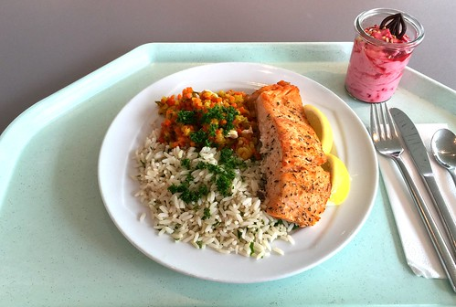 Salmon filet on orange ratatouille with rice  / Lachsfilet auf Orangenratatouille mit Reis