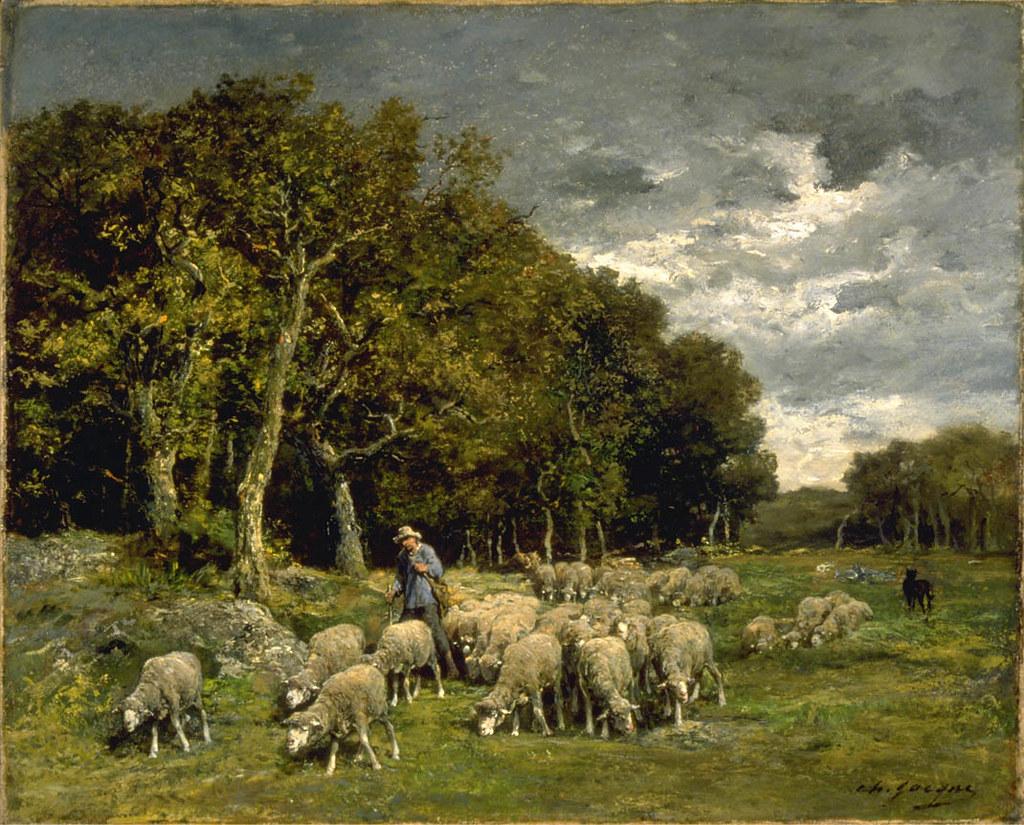 Charles-Emile Jacque 'Landscape with Sheep' After 1848 Oil ...