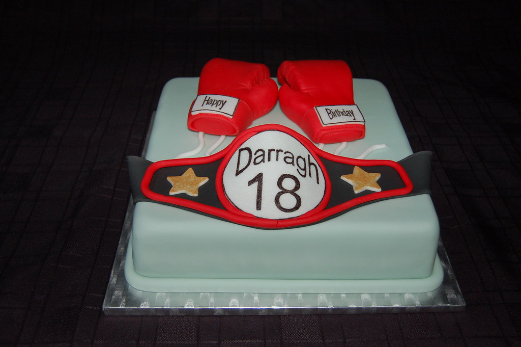 Boxing Glove And Belt Birthday Cake Boxing Glove And