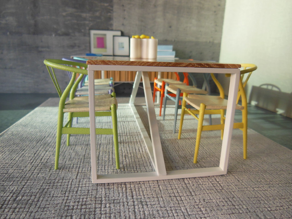 Strut table with wishbone chairs now available through for Wishbone chair table