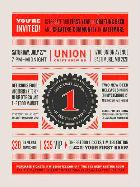 Union craft 39 s 1st anniversary union craft brewery for Union craft brewing baltimore md