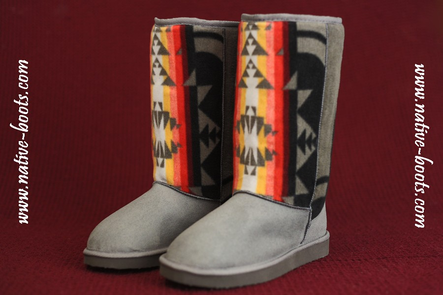Awesome Native American Hippie Suede Tribal Turquoise Winter Navajo Moccasin Boots | Snow Christmas ...