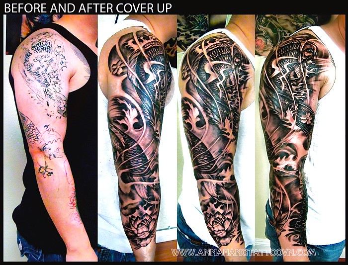 Cover up koifish full sleeve for Tattoo sleeve cover ups