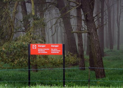 'Undetonated explosives' sign at Vimy Ridge