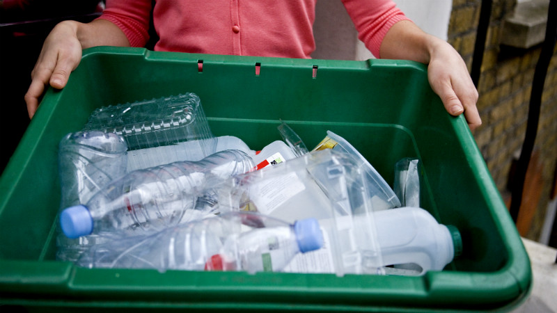 Recycling box with plastic bottles