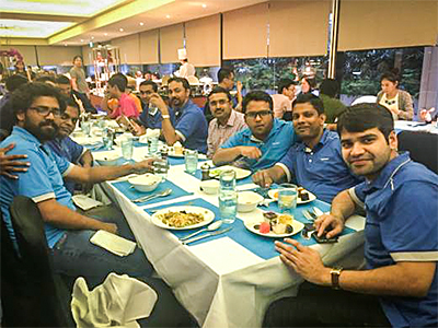 Dinner with the DataSpark Team at a recent offsite meeting. (Left to Right): Thangaraj Vishnu Gowthem, Data Analyst, DataSpark; Pothula Mohana Rao, Data Engineer, DataSpark; Jayakumaran Deepak, Data Engineer (Products), DataSpark; Gupta Vihag, Data Engineer (Products), DataSpark; Sricharan Reddy, Principal Architect (Insights), Optus; Chandra Sekhar Saripaka, Senior Data Engineer, DataSpark; Dr Kajanan Sangaralingam, Data Scientist (Products), DataSpark; and Prasar Ashutosh, Data Engineer (Products), DataSpark.