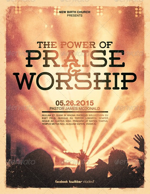 Power of Praise and Worship Church Flyer TemplatePraise And Worship Church