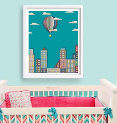Ciudad y rascacielos decoraci n de paredes decoraci n de - Cuadros habitaciones infantiles ...