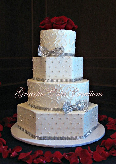 wedding cake silver ribbon white butter wedding cake with silver bling 24552