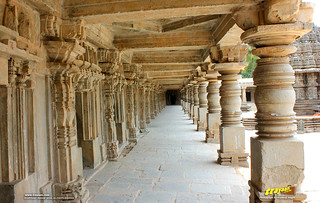 South Colonnade of the cloistered corridor at Keshava temple courtyard, Somanathapura, Mysore district, Karnataka, India