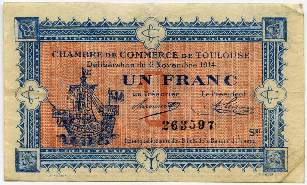 Chambre de commerce de toulouse un franc 6 novembre 1914 Chambre des commerces toulouse