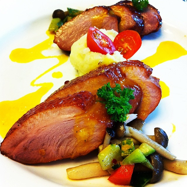 Smoked Duck Breast - sliced whole smoked duck breast with ...