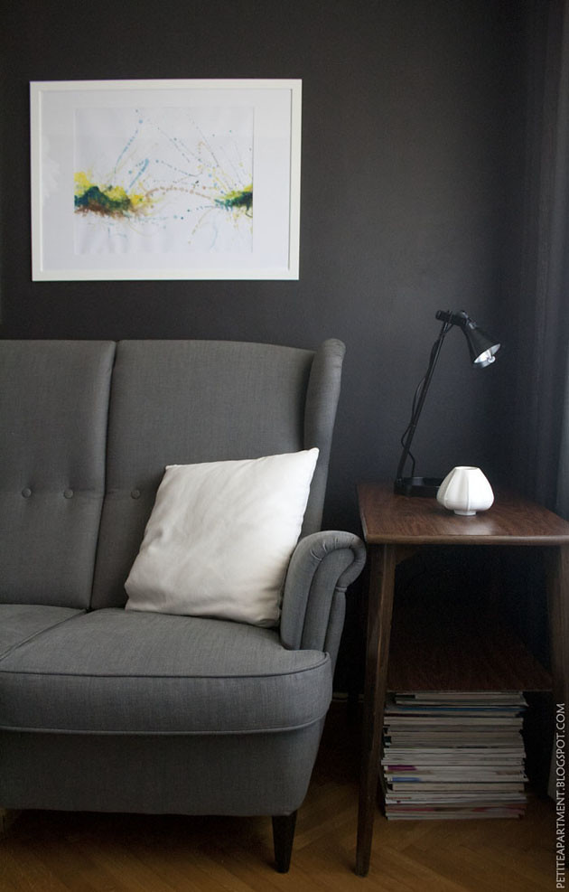 dark grey black living room with grey ikea strandmon sofa flickr. Black Bedroom Furniture Sets. Home Design Ideas
