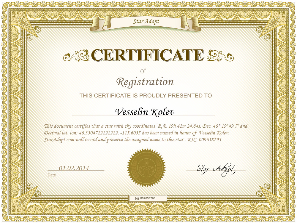 Star adoption certificate | Now I have a star named in honor ...