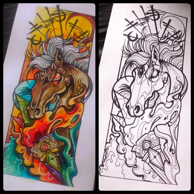 Fire And Horse Sketch Design Dise&241o Color Pen Hors