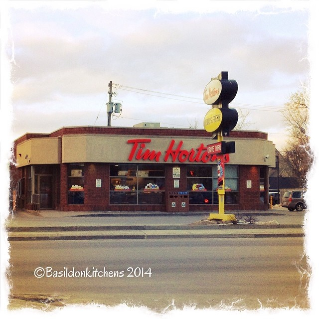 24/2/2014 - typically Canadian {Tim Horton's coffee shops; they are everywhere.} #photoaday #typical #canadian #timhorton #coffee #drivethru #picton #princeedwardcounty