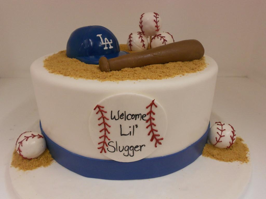 Baseball theme baby shower cake 1969 wwwasweetdesignin Flickr