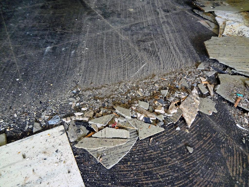 Asbestos floor tile abatement breakage example of asbestos flickr asbestos floor tile abatement breakage by asbestorama dailygadgetfo Images