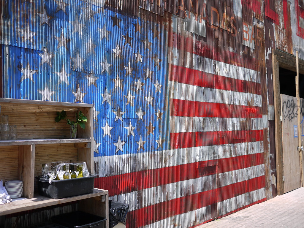 American Flag Painted On Corrugated Metal Wall Keith