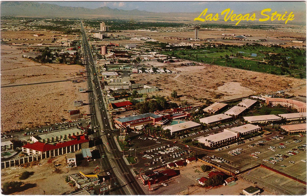 Retro las vegas mid 1960s strip aerial view postcard flickr