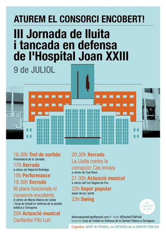 Jornada de lluita i tancada el 9 de juliol a l'Hospital Joan XXIII de Tarragona