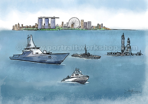 ship digital illustration for Singapore navy (watermarked)