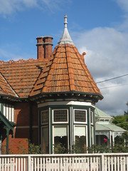 The Bay Window and Tower of of an Edwardian Mock Tudor Queen Anne Mansion - Ballarat