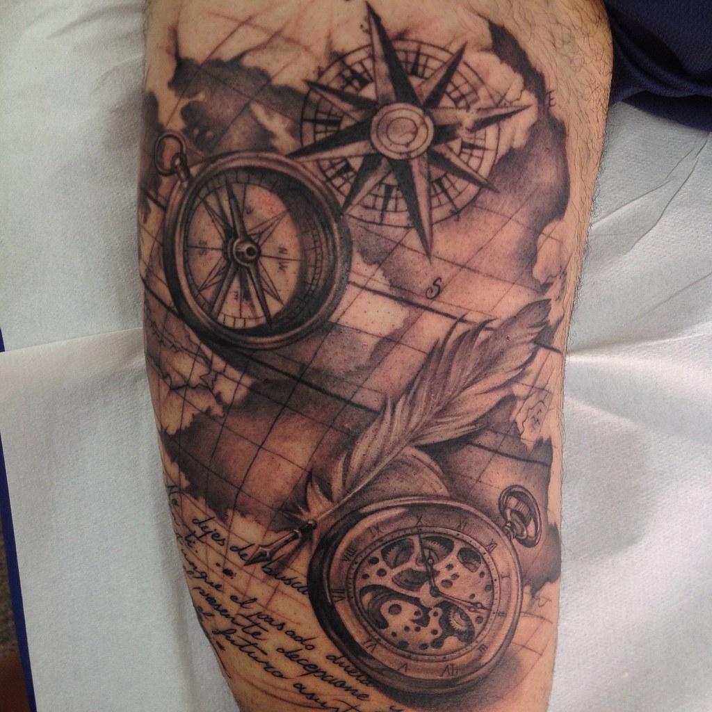 Map Tattoos: Compass, Pocket Watch, Old Sailor Map