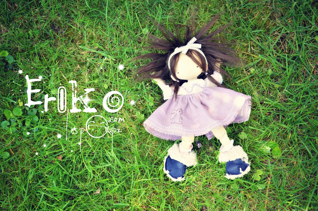 Eriko, Natural Fiber Cloth Doll, by LesPouPZ
