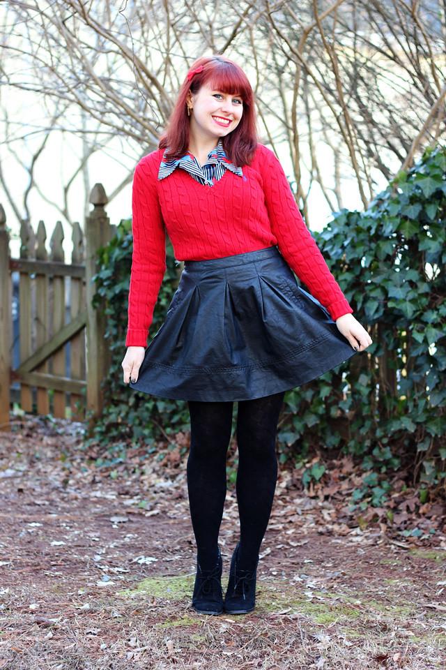 Red Sweater 70s Blouse Leather Skater Skirt Jamie Flickr