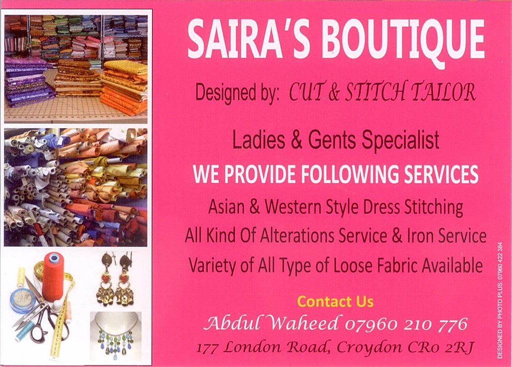 flyer from saira u0026 39 s boutique  cut  u0026 stitch tailors  dec 2013