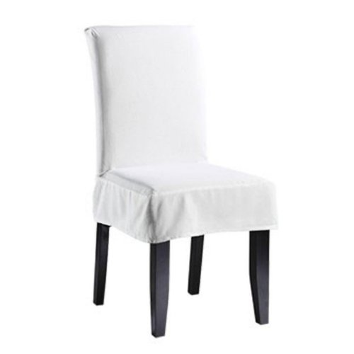 Sure Fit Twill Supreme Short Dining Room Chair Cover, Whit
