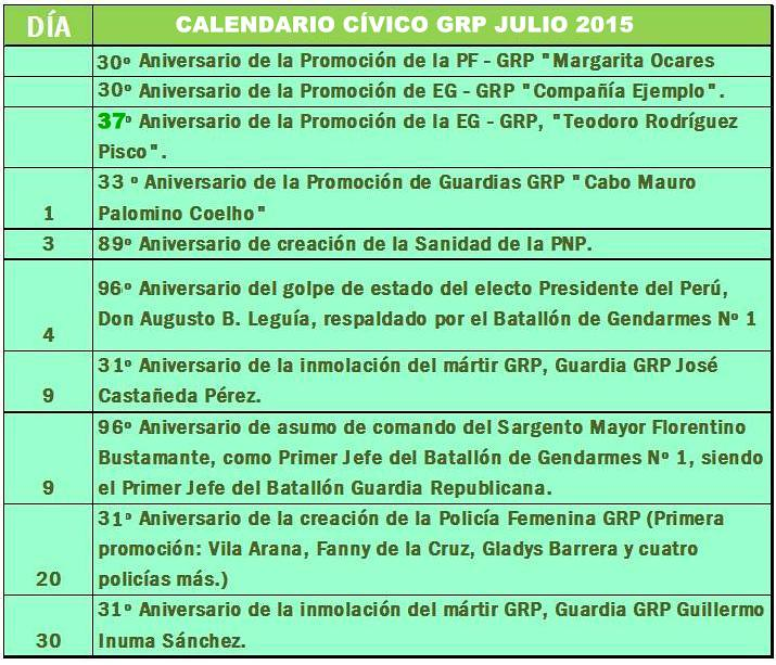 Calendario Cívico GRP jul
