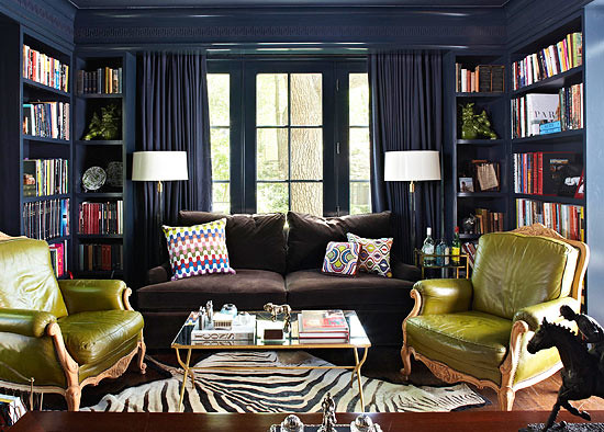 Navy green lacquered walls painted benjamin moore hale for Study room design ideas blue