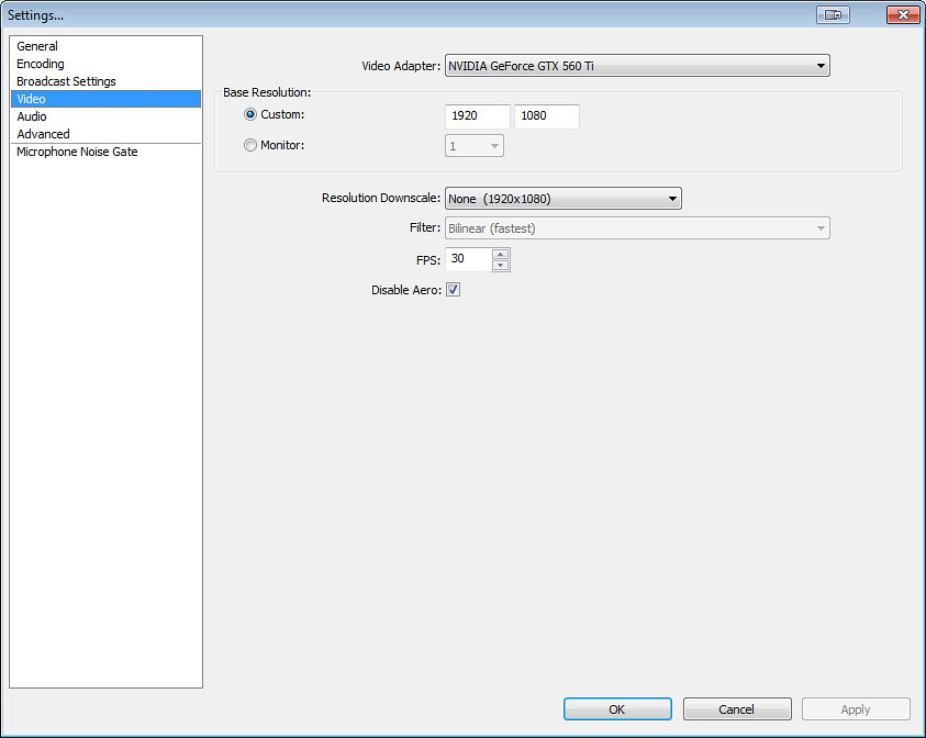 open broadcaster software settings