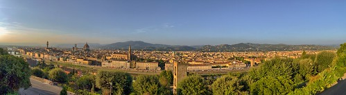 Florence (Firenze), Italy at Dusk (Panorama) - from the Piazzale Michelangelo