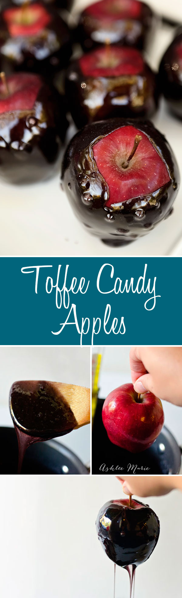 these toffee candied apples are perfect for representing snow whites poisoned apple