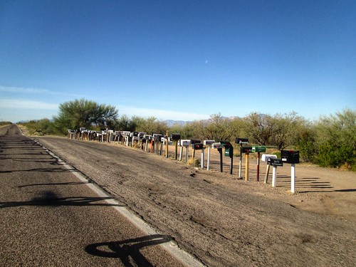 Long line of mailboxes on Arivaca-Sasabe Rd