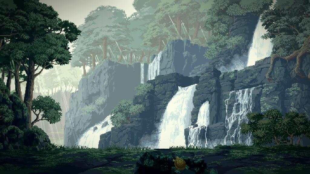 waterfalls pixel art wallpaper trabajos de pixel art