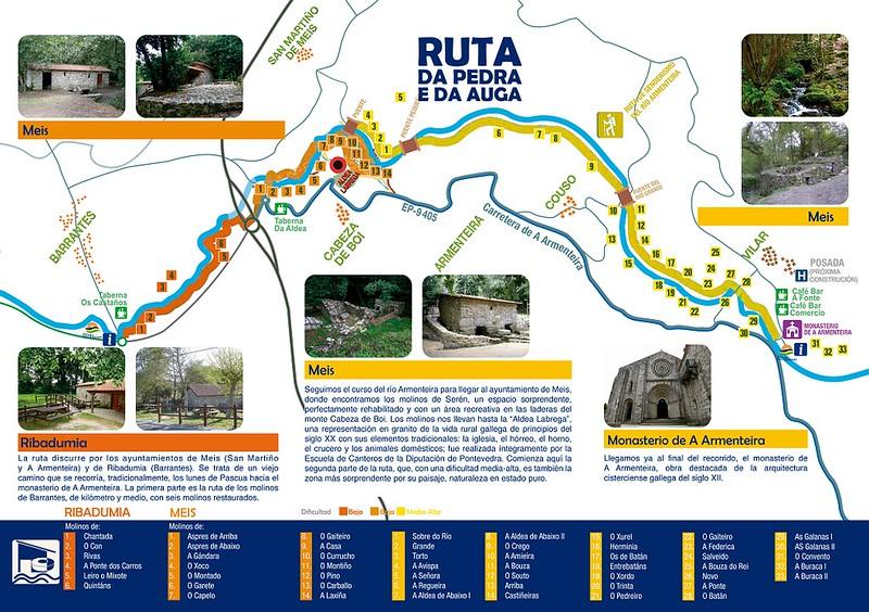Mapa de la ruta da pedra e da auga en los concellos de Ribadumia y Meis