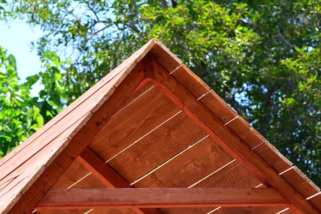 Triangular wood treehouse roof thavius beck flickr for How to build a treehouse roof