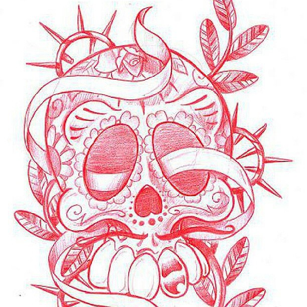 mexican skull tattoo design art illustration drawing flickr. Black Bedroom Furniture Sets. Home Design Ideas