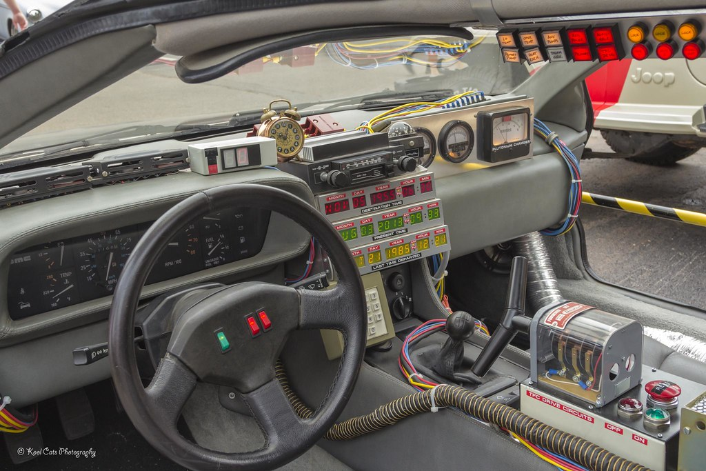 delorean interior back to the future coffee and cars car flickr