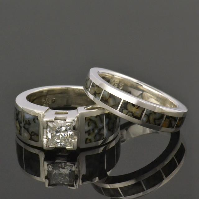 dinosaur bone wedding and engagement ring with white