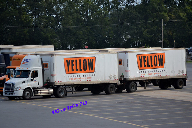 Yrc freight freightliner cascadia with doubles flickr photo