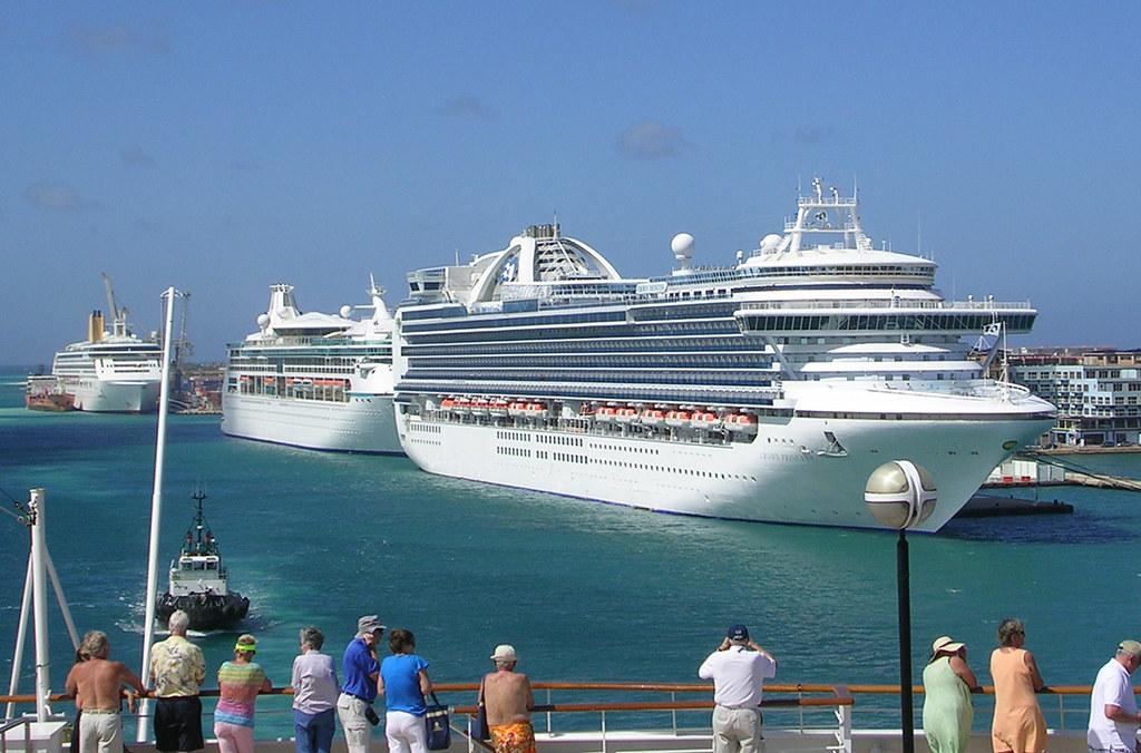 Aruba  Three Cruise Ships  Three Cruise Ships Carrying A