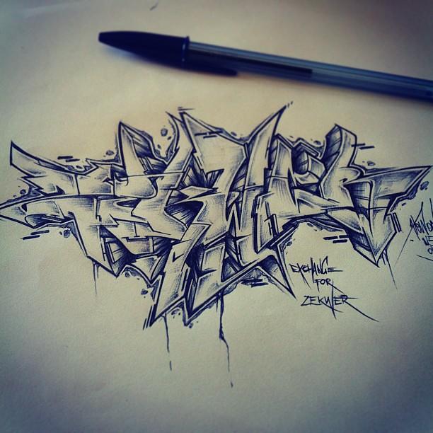 exchange for zekwer by atewone graffiti sketch style flickr. Black Bedroom Furniture Sets. Home Design Ideas