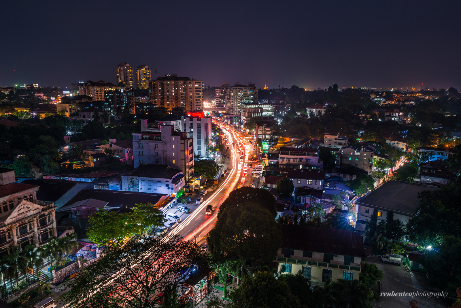 Yangon City in Evening by Reuben Teo